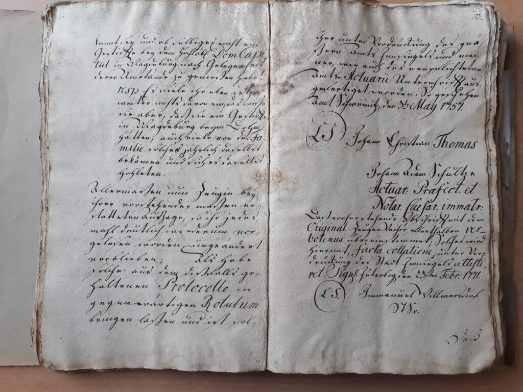 folio 52 v und 53 r zu Maria Döring, verehelichte Berndt (endet mit Articel 12)